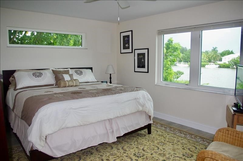 King bed, water view