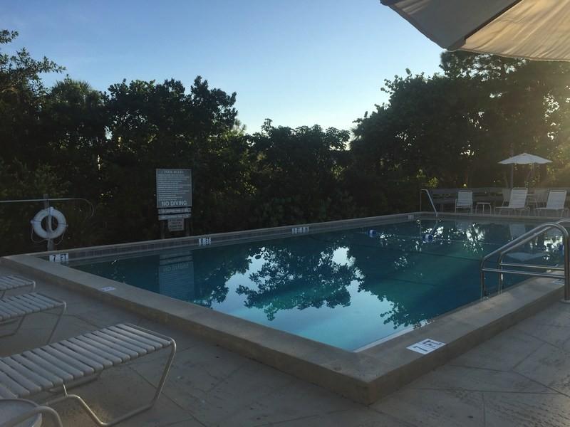 The pool is heated seasonally.