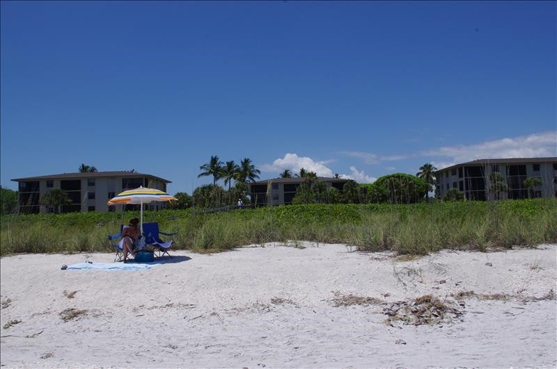 The view to the condo from the beach.