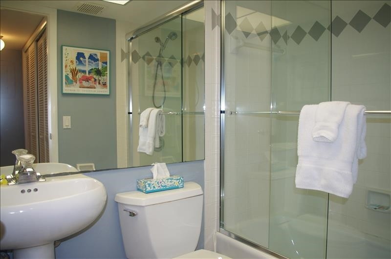 The guest bath has a single vanity and tub/shower.