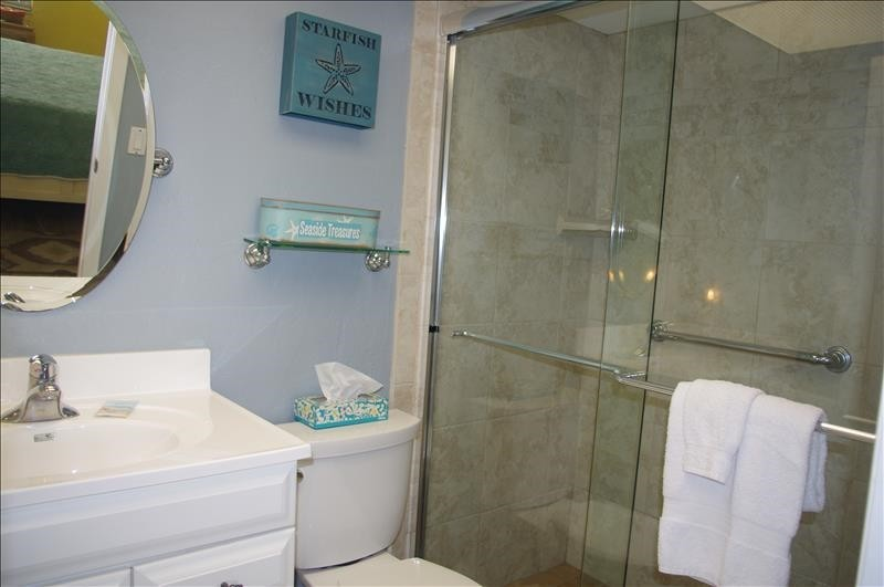 The master bathroom has a single vanity and walk-in shower.