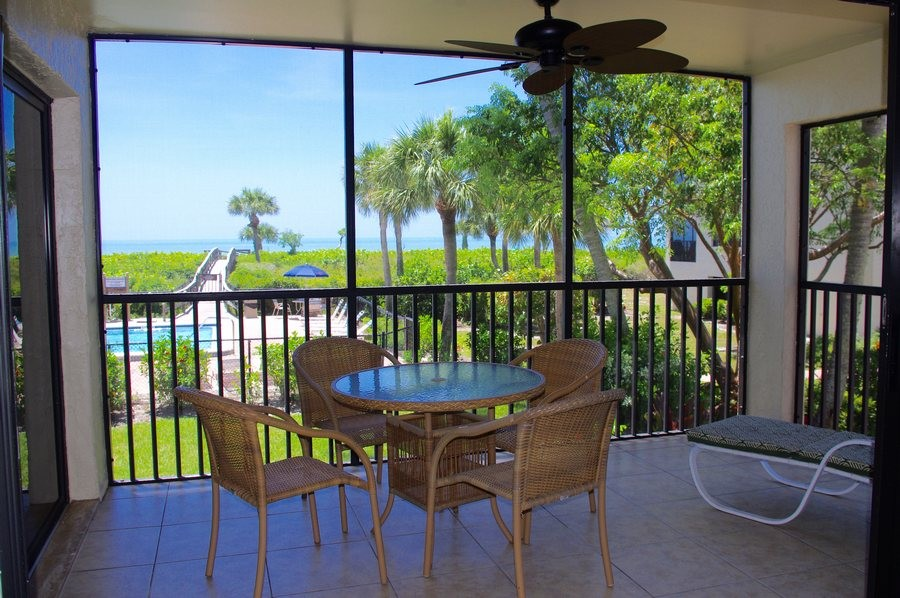 Looking out over the pool to the beach.