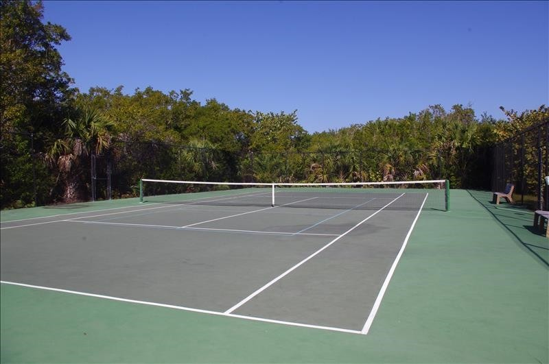 The tennis court doubles as a Pickleball court.