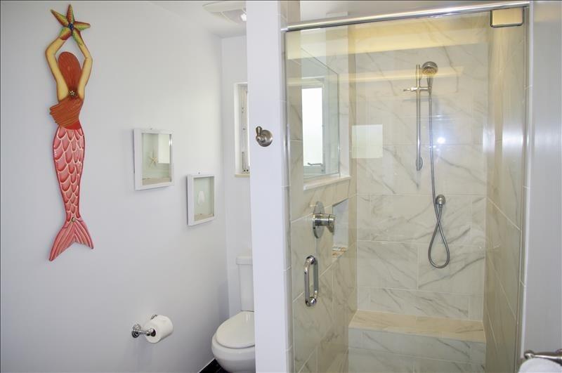 Spacious master bath; marble walk-in shower