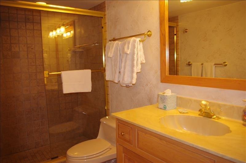 Single vanity and walk-in shower