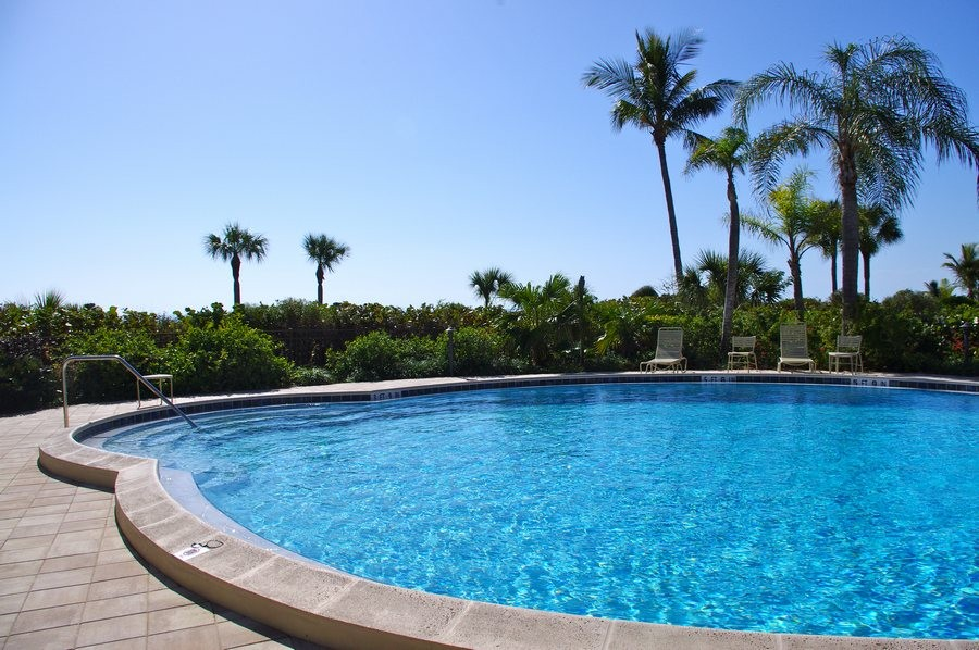 The outdoor heated pool.