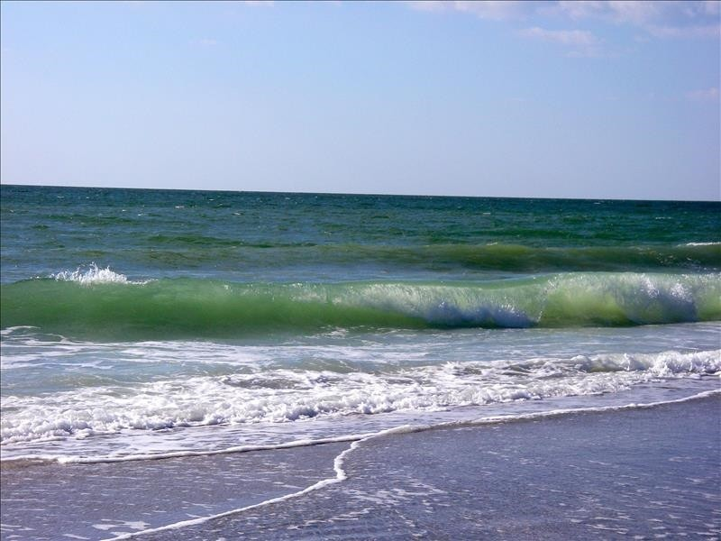 The Gulf of Mexico beach is directly across the street.