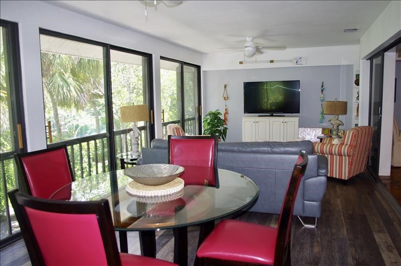 The sunroom is a great gathering space.