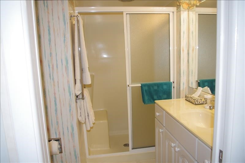 The Master Bath has a single vaniy and shower.